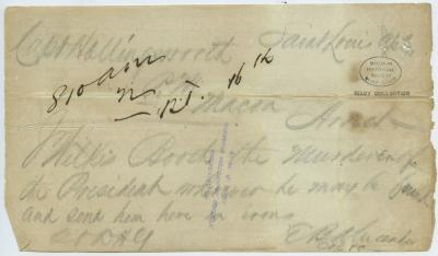 Contemporary copy of telegram of E. B. Alexander, Saint Louis, to Capt. Hollingsworth, Macon, [April 15, 1865]