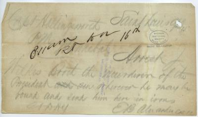 Contemporary copy of telegram of E. B. Alexander, Saint Louis, to Capt. Hollingsworth, Hannibal, [April 15, 1865]
