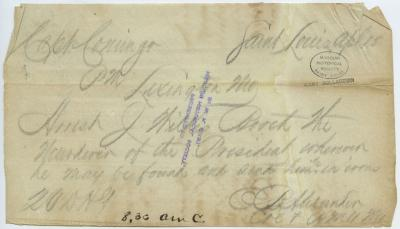 Contemporary copy of telegram of E. B. Alexander, Saint Louis, to Capt. Conigo, Lexington, Mo., April 15, [1865]
