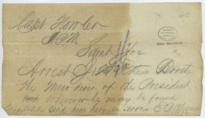 Contemporary copy of telegram of E. B. Alexander, Saint Louis, to Capt. Fowler, Saint Joe [Saint Joseph, Mo.], [April 15, 1865]