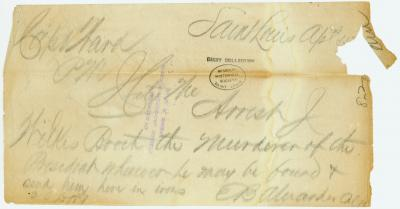 Contemporary copy of telegram of E. B. Alexander, Saint Louis, to Capt. Ward, Jefferson City, April 15, [1865]