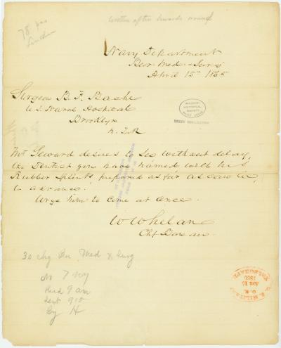 Contemporary copy of telegram of W. Whelan, Chf. Bureau, Navy Department, Bur. Med and Surg., to Surgeon B. F. Bache, U.S. Naval Hospital, Brooklyn, N. York, April 15, 1865