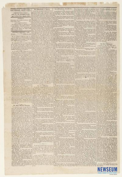 The Southern Sentinel, April 30, 1865