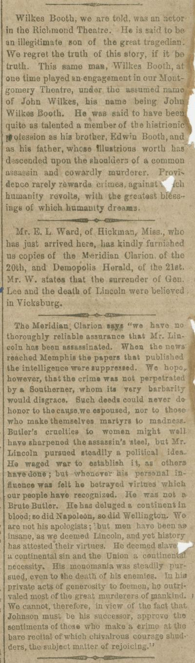 Reports and editorial comments about the assassination of President Lincoln.