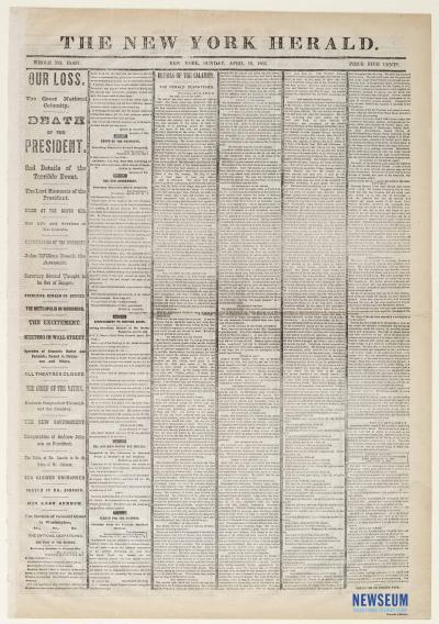The New York Herald, April 16, 1865
