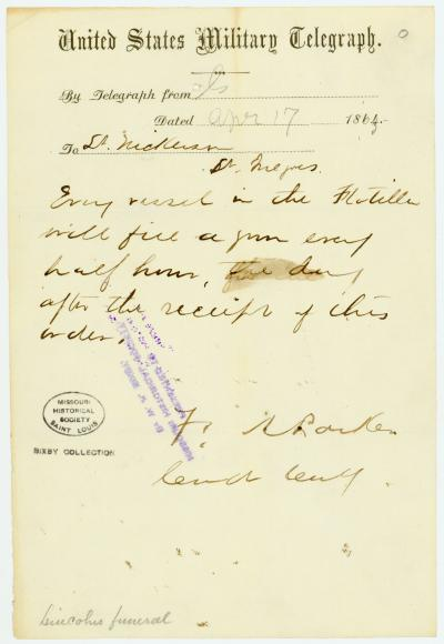Telegram of F. A. Parker to Lt. Nickerson, April 17, 1865