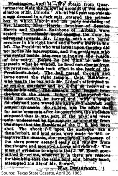 An account of the assassination of Mr. Lincoln
