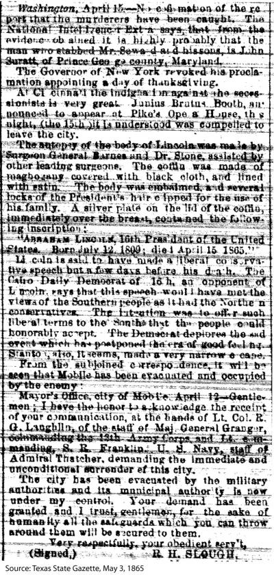 Newspaper Article - Secretary Seward and Abraham Lincoln