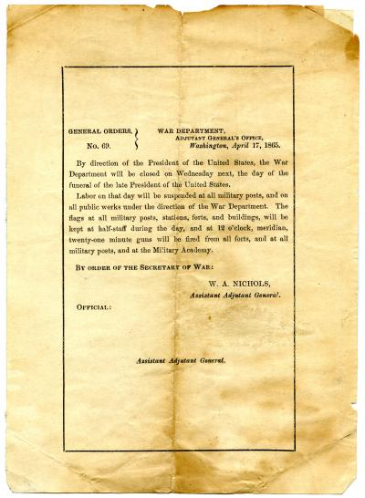 General Orders, No. 69, War Department, Adjutant General's Office, Washington, April 17, 1865