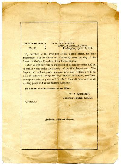 General Orders, No. 69, War Department, Adjutant General's Office, Washington, April 17, 1865