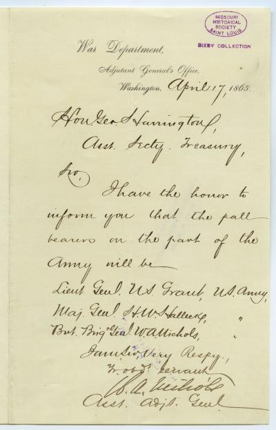 Note signed W.A. Nichols, Asst. Adjt. Genl., War Department, Adjutant General's Office, Washington, to Hon. Geo. Harrington [George Harrington], Asst. Secty. Treasury, April 17, 1865