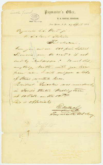 Letter signed C. Wallach, Paymaster U.S. Navy, Paymaster's Office, U.S. Naval Station, New Berne, N.C., to Paymaster S.S. Ward jr., U.S. Naval Station, Fort Macon, April 17, 1865