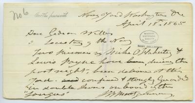 Contemporary copy of telegram of J.B. Montgomery, Navy Yard, Washington, D.C., to Hon. Gideon Welles, Secretary of the Navy, April 18, 1865
