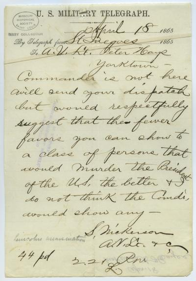 U.S. Military Telegraph of S. Nickerson, St. Inegoes [St. Inigoes], to A.N. Lt. Peter Hays, Yorktown, April 18, 1865
