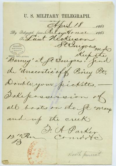 U.S. Military Telegraph of F.A. Parker, Relay House, to Lieut. Nickerson [S. Nickerson], St. Inigoes, Md., April 18, 1865