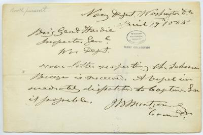 Contemporary copy of telegram of J.B. Montgomery, Navy Department, Washington, D.C., to Brig. Genl. Hardie, Inspector Genl., War Dept., April 19, 1865