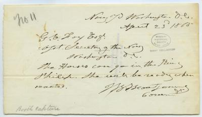 Contemporary copy of telegram of J.B. Montgomery, Navy Yard, Washington, D.C., to G.V. Fox Esq., Asst. Secretary of the Navy, Washington, D.C., April 23, 1865