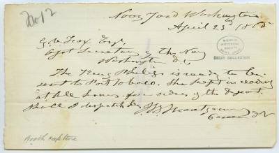 Contemporary copy of telegram of J.B. Montgomery, Navy Yard, Washington, to G.V. Fox Esq., Asst. Secretary of the Navy, Washington, D.C., April 23, 1865