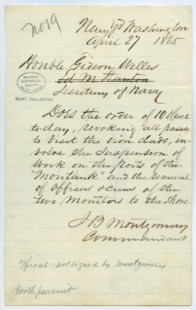 Contemporary copy of telegram of J.B. Montgomery, Commandant, Navy Yd., Washington, to Honble. Gideon Welles, Secretary of Navy, April 27, 1865