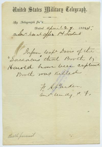 United States Military Telegraph of F.A. Parker to Senr. Naval Officer, Pt. Lookout, April 29, 1865