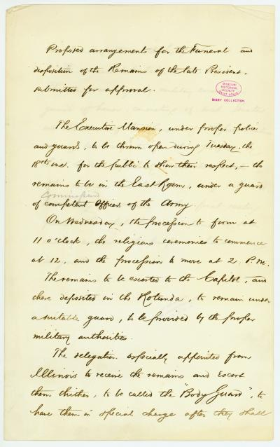 Original draft of plans for President Abraham Lincoln's funeral procession, [April 1865]