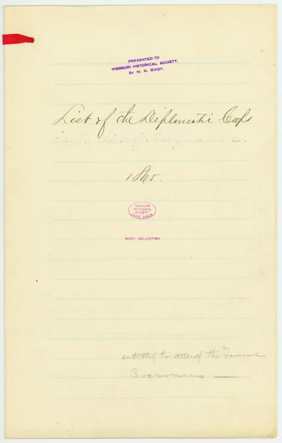 List of the Diplomatic Corps entitled to attend the funeral ceremonies of Abraham Lincoln, [April] 1865