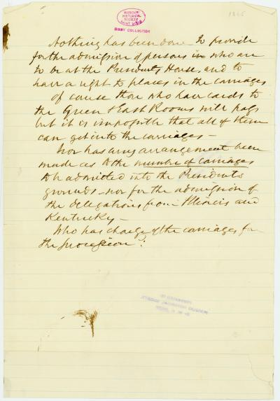 Note of George Harrington regarding guests at the White House for Abraham Lincoln's funeral, [April 1865]