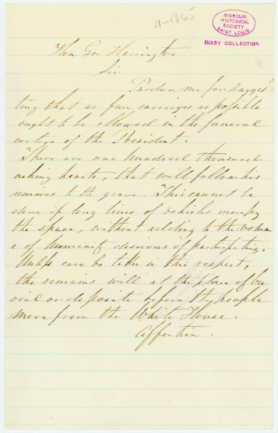 Unsigned Note to George Harrington, April 1865