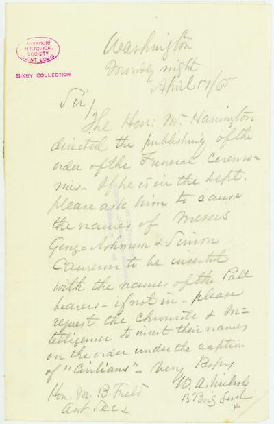 Letter signed W.A. Nichols, Washington, to Hon. M.B. Field, Asst. Sec., April 17, 1865