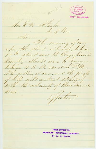 Unsigned note to Hon. E.M. Stanton, [April 1865]