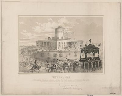 Funeral car of President Abraham Lincoln passing the State House at Columbus, April 29