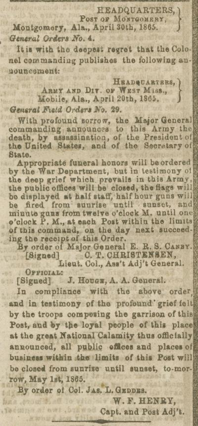 Military orders issued in Montgomery, Alabama, after the death of President Lincoln.