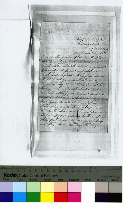 Photocopy of handwritten, unsigned letter to Friend Elizabeth, April 20, 1865