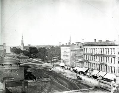 Superior Avenue at Public Square, Cleveland, Ohio late 1850s
