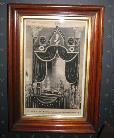 Currier & Ives framed print of Lincoln lying in state
