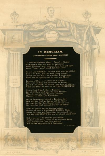 In Memoriam - Augustine J. H. Duganne Poem on Lincoln Assassination