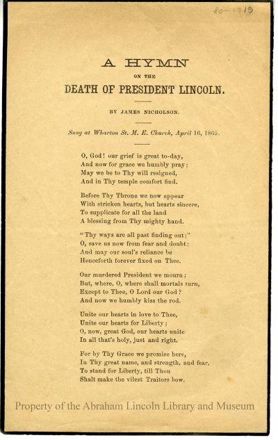 A Hymn on the Death of President Lincoln