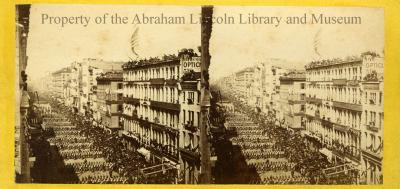 Stereograph of Lincoln's Funeral Procession in New York City