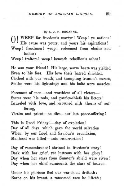 Augustine J. H. Duganne Poem on Lincoln Assassination
