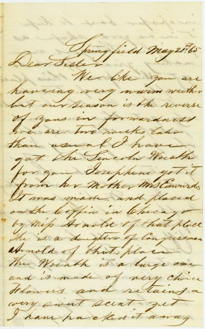 Letter of A. M. Black, Springfield, to Sister [Jane Black], May 21, 1865