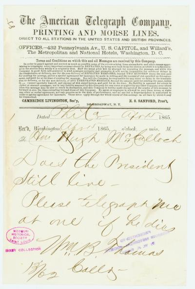 American Telegraph Company telegram of Wm. B. Thomas [William B. Thomas], Phila., to Hon. Hugh McCulloch, April 15, 1865