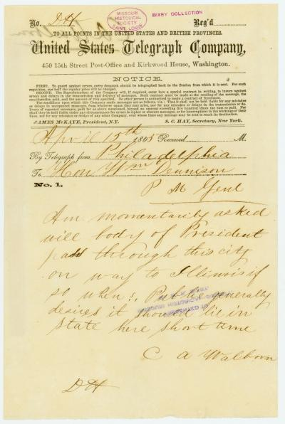 United States Telegraph Company telegram of C.A. Walborn, Philadelphia, to Hon. Wm. Dennison [William Dennison], April 15, 1865