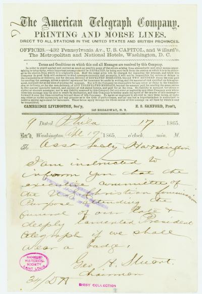 American Telegraph Company telegram of Geo. H. Stuart [George H. Stuart], Chairman, Phila., to Asst. Secty. Harrington [George Harrington], April 17, 1865