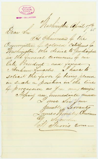 Letter of James Wormley, G. Snowden, and H. Harris, Washington, [to George Harrington], April 17, 1865