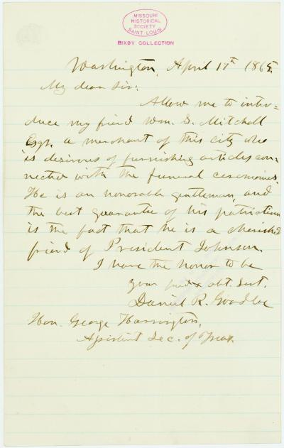 Letter signed Daniel R. Goodloe, Washington, to Hon. George Harrington, Assistant Sec. of Treas., April 17, 1865