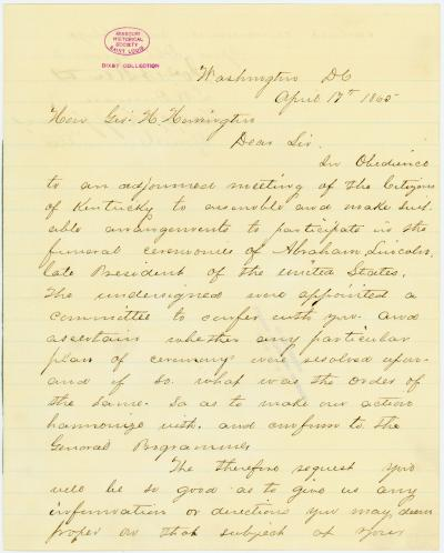 Letter signed Jos. B. Steen [Joseph B. Steen], J.R. Duncan et al., Washington, D.C., to Hon. Geo. H. Harrington, April 17, 1865