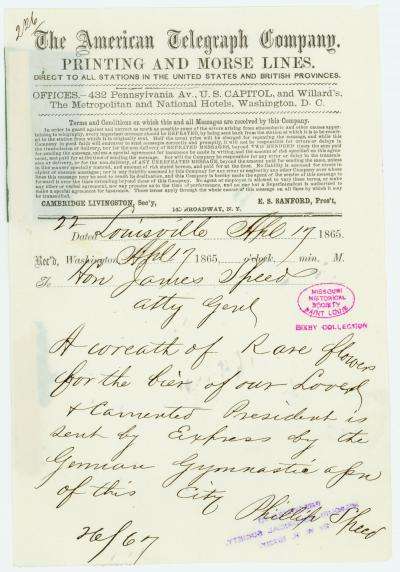 American Telegraph Company telegram of Phillip Speed, Louisville, to Hon. James Speed, Atty. Genl., April 17, 1865