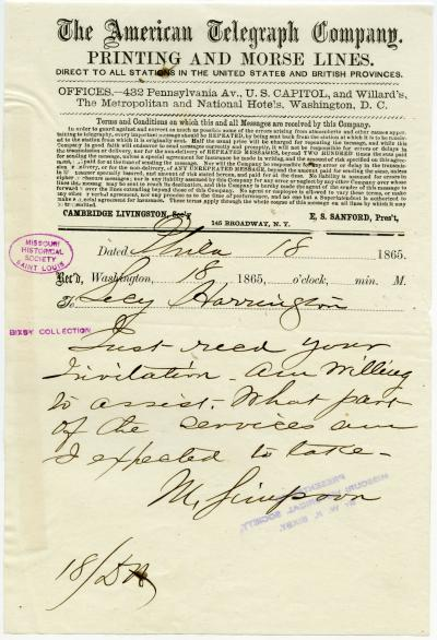 American Telegraph Company telegram of M. Simpson, Phila., to Secy. Harrington [George Harrington], April 18, 1865