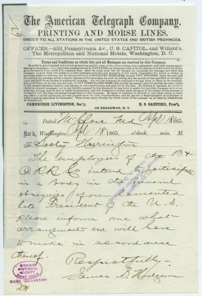 American Telegraph Company telegram of James B. Hodgeson, Mt. Clare, Md., to Secty. Harrington [George Harrington], April 18, 1865