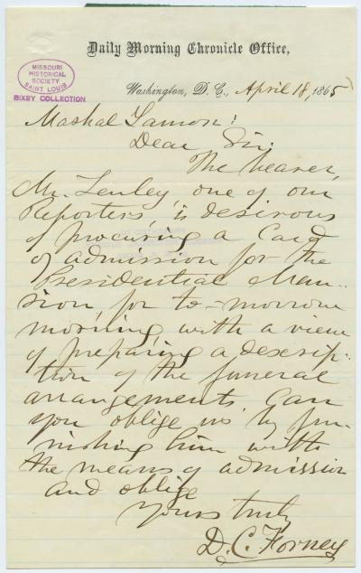 Letter signed D.C. Forney, Daily Morning Chronicle Office, Washington, D.C., to Marshal Lamon, April 18, 1865